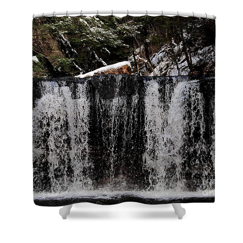 Winter Woodland Waterfall Veil Waterfalls Snowy Forest Waterfall Winter Waterfall Waterscapes Natural Landscapes Natural Waterfalls Pennsylvania Waterfalls Appalachian Waterfalls Natural Beauty Natural Design In Nature Natural Water Features Organic Art Shower Curtain featuring the photograph Winter Woodland Waterfall by Joshua Bales