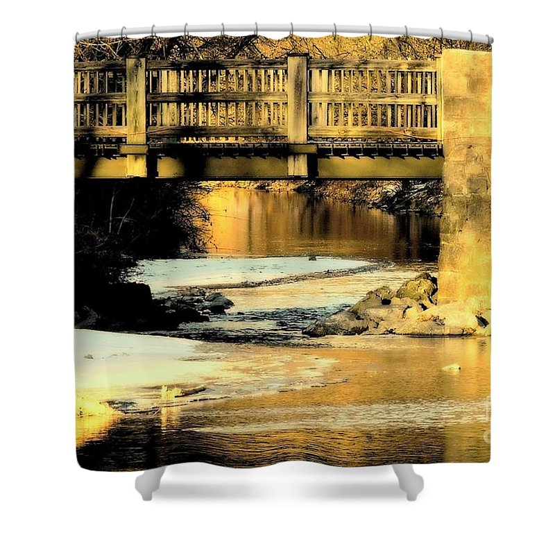 Robin Hood Dell Shower Curtain featuring the photograph Winterlude At Robin Hood Dell by Tami Quigley