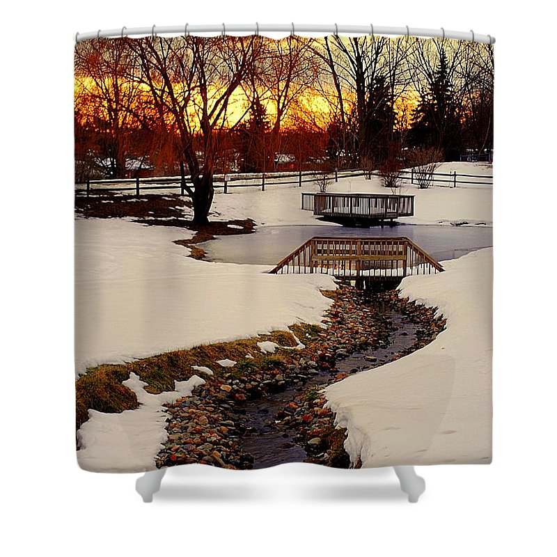 Winter Shower Curtain featuring the photograph Winters Exit by Frozen in Time Fine Art Photography