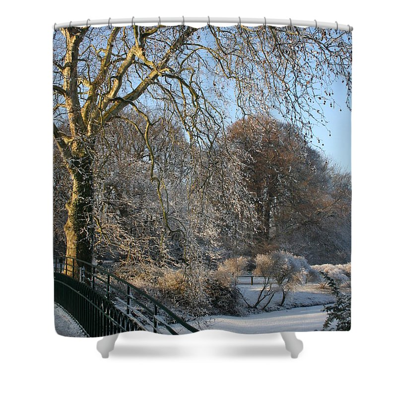 Snow Shower Curtain featuring the photograph Wintertime by Christiane Schulze Art And Photography