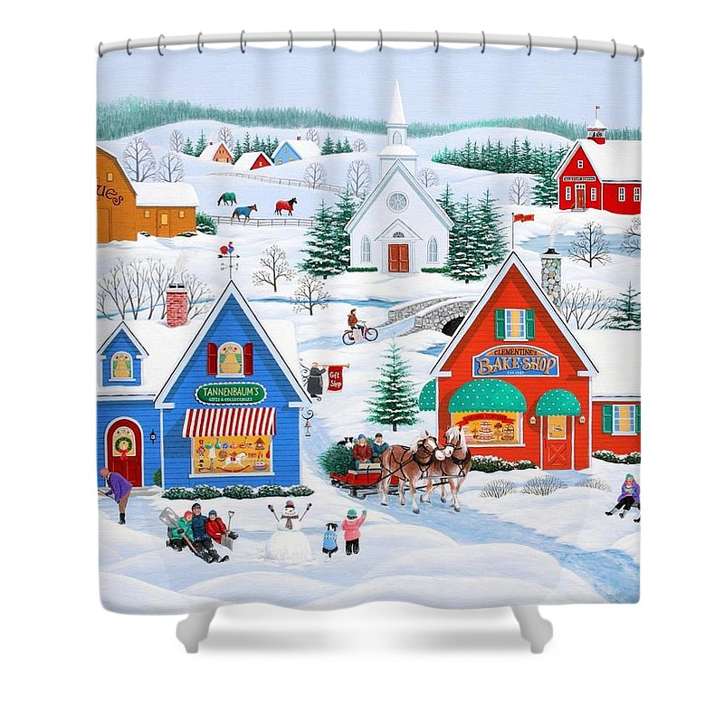 Folk Art Shower Curtain featuring the painting Wintertime In Sugarcreek by Wilfrido Limvalencia