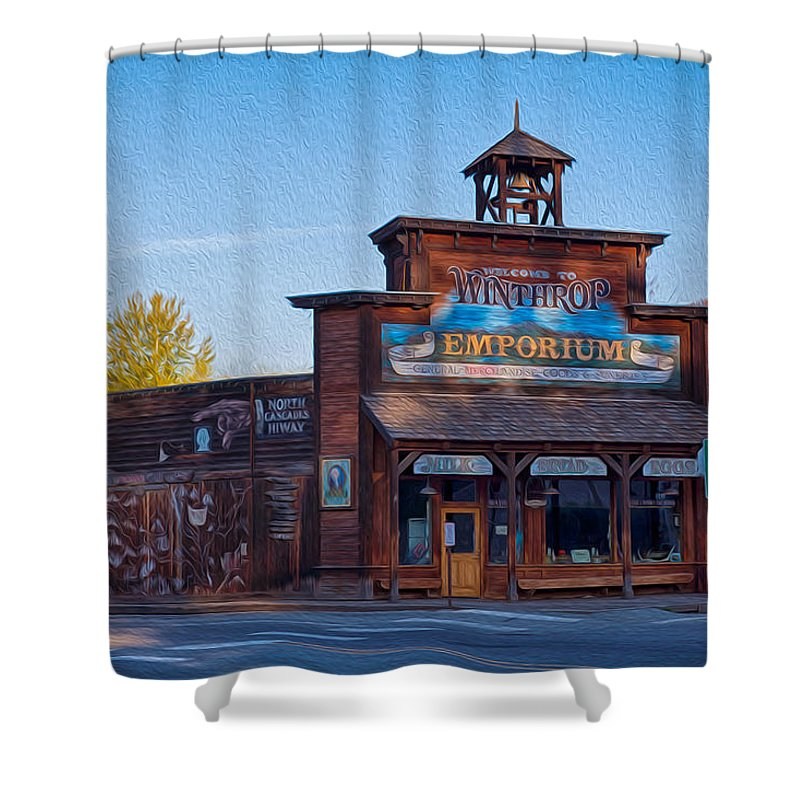 North Cascades Shower Curtain featuring the painting Winthrop Emporium by Omaste Witkowski