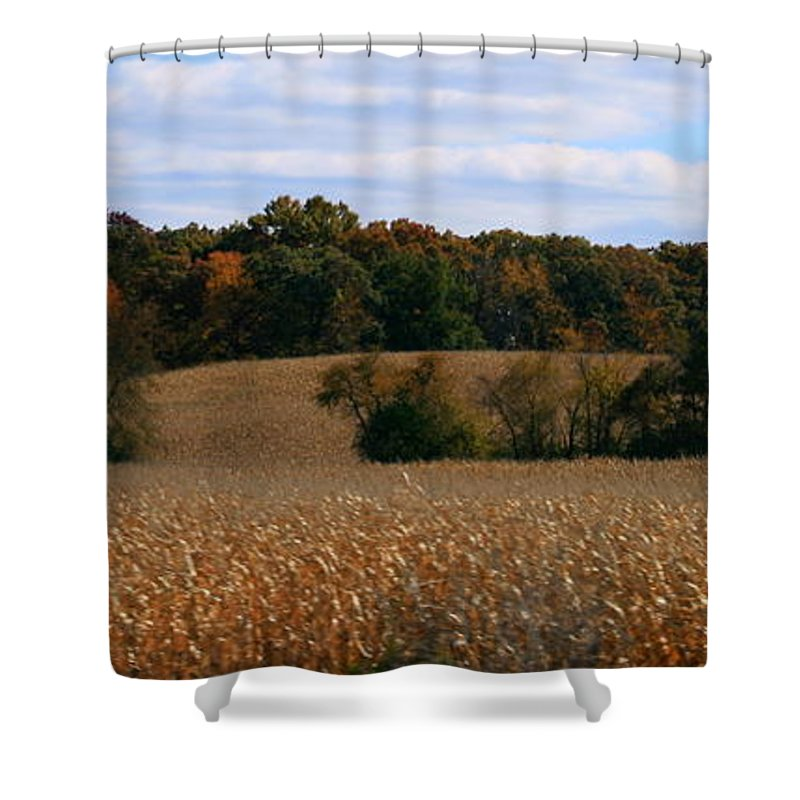 Panoramic Shower Curtain featuring the photograph Wisconsin Fields In Late Summer by Kay Novy