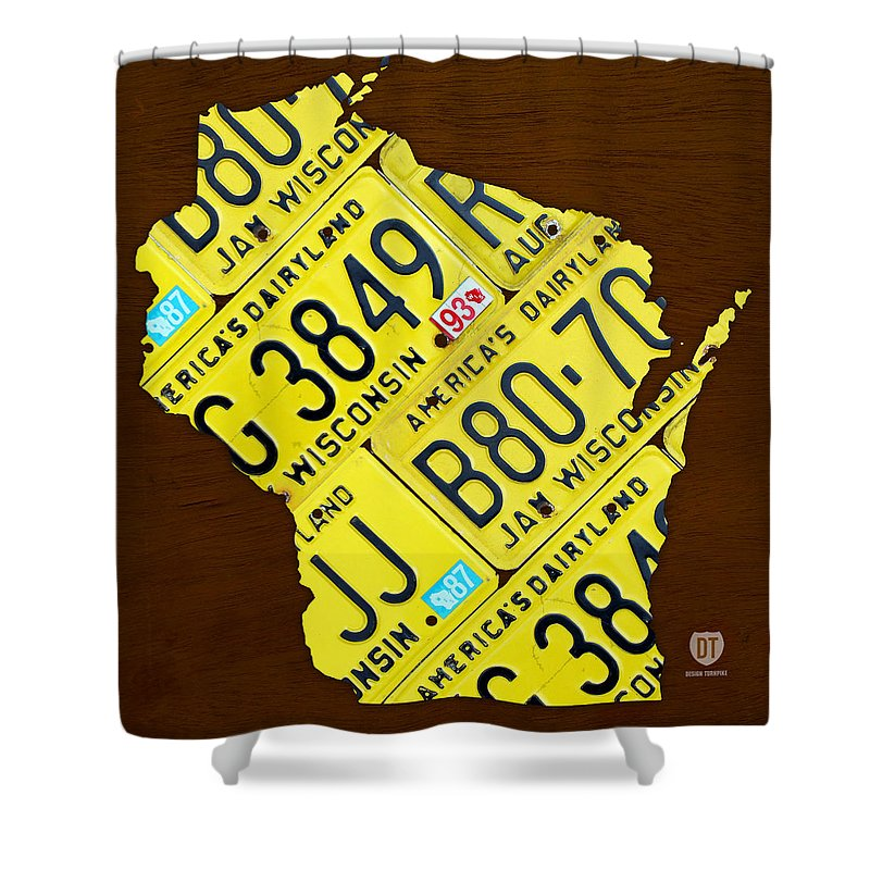 Wisconsin License Plate Map By Design Turnpike Madison Milwaukee Shower Curtain Featuring The