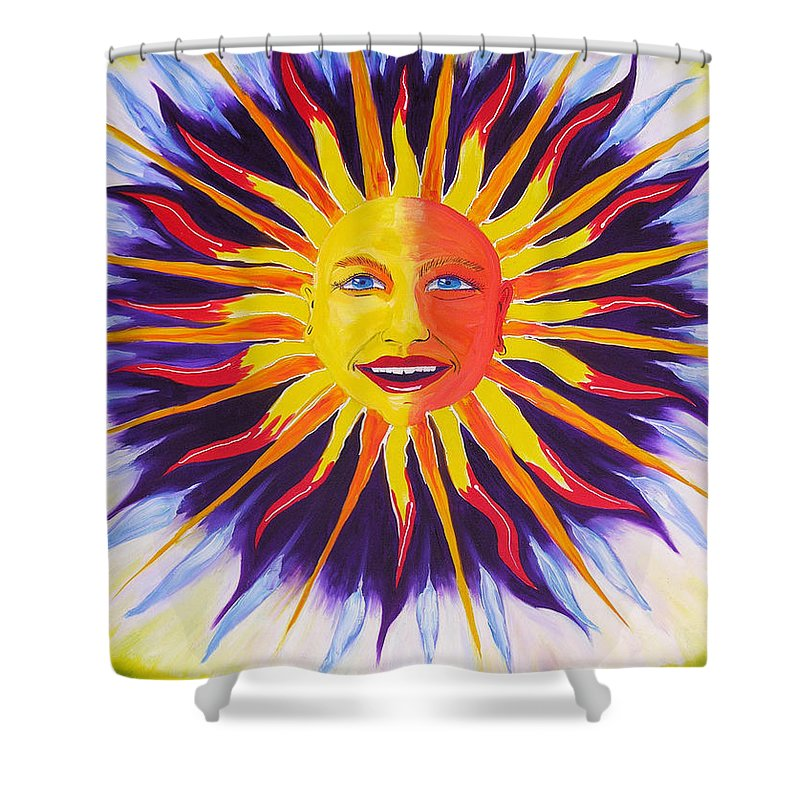 Oil Shower Curtain featuring the painting Wisdom Sun by Ru Tover