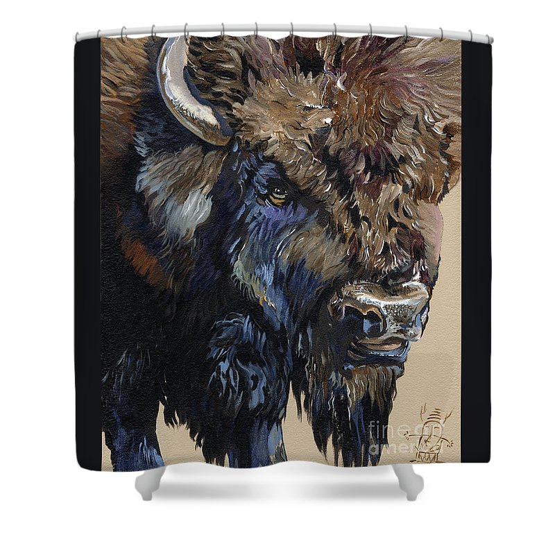 Bison Shower Curtain featuring the painting Wise Plains Drifter by J W Baker