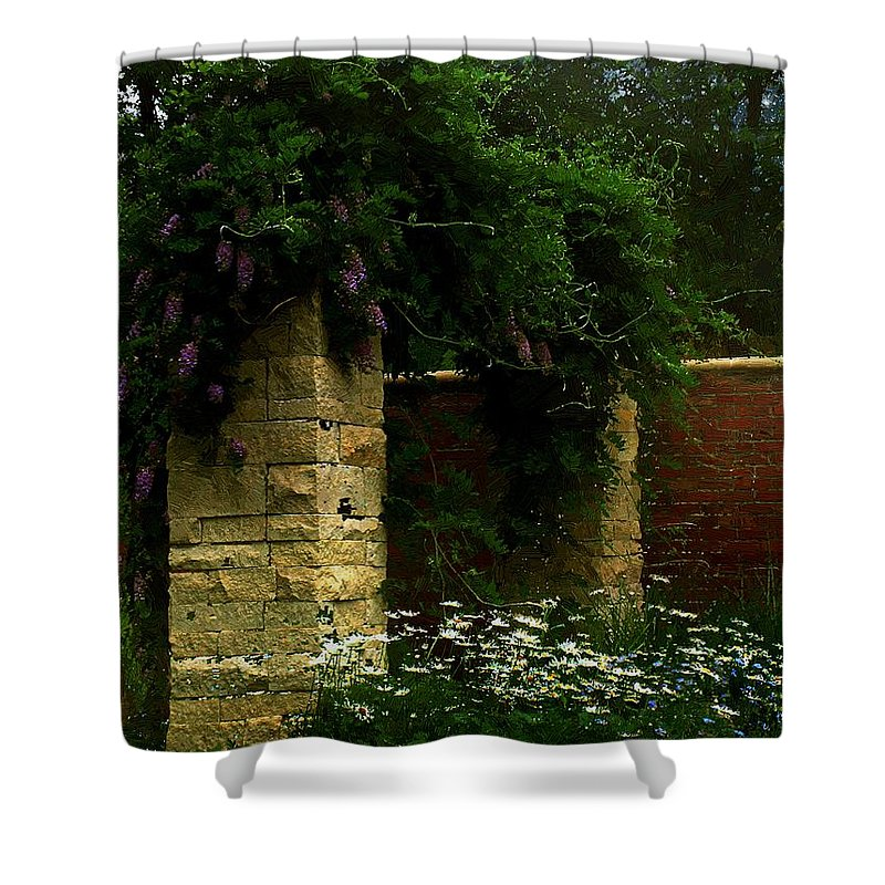 Arch Shower Curtain featuring the painting Wisteria In Moonlight by RC DeWinter
