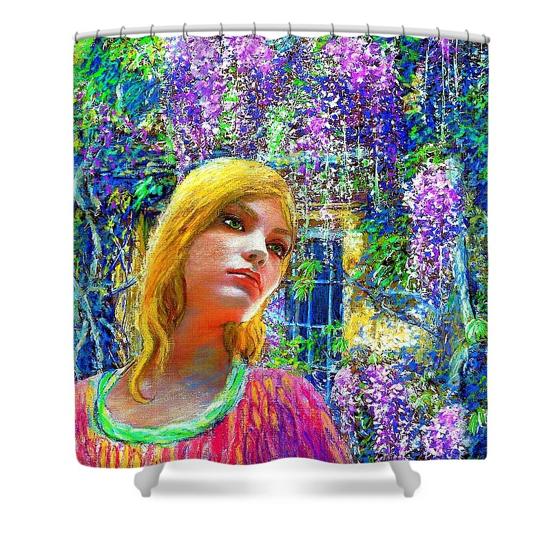Wisteria Shower Curtain Featuring The Painting By Jane Small