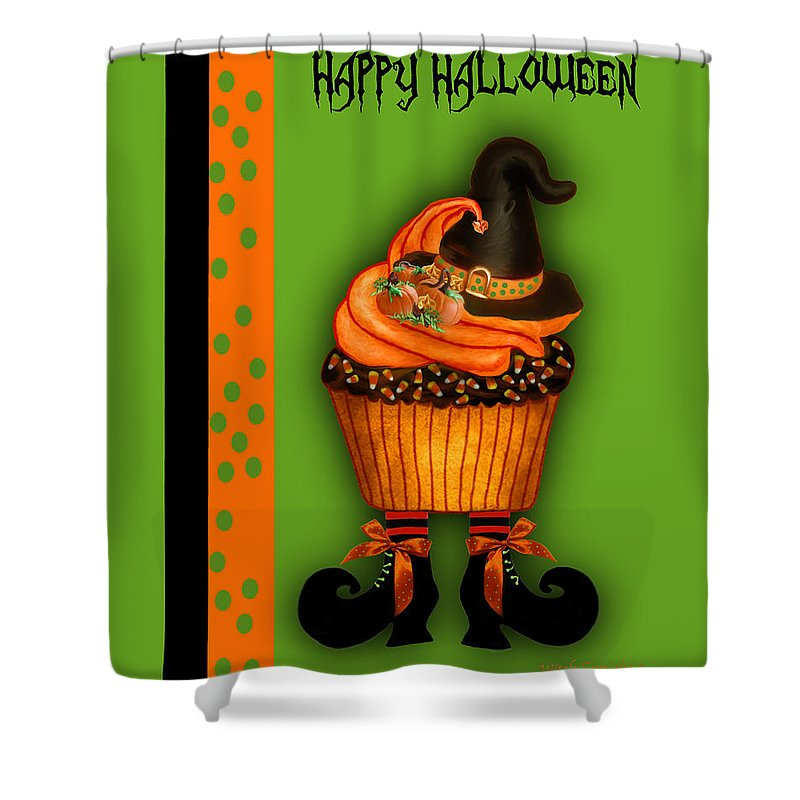 Halloween Art Shower Curtain featuring the mixed media Witch Cupcake 3 by Carol Cavalaris