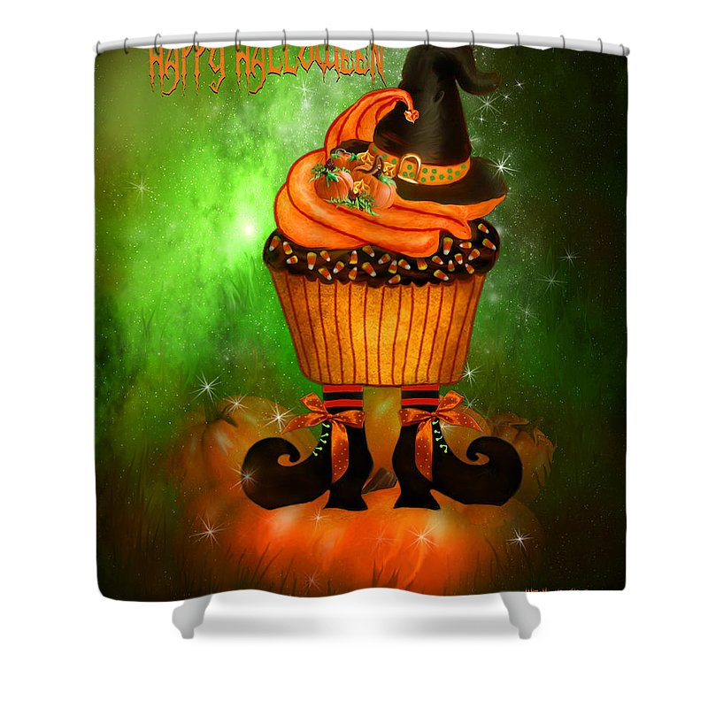 Halloween Art Shower Curtain featuring the mixed media Witch Cupcake 4 by Carol Cavalaris