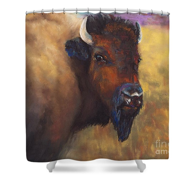 Bison Shower Curtain featuring the painting With Age Comes Beauty by Frances Marino
