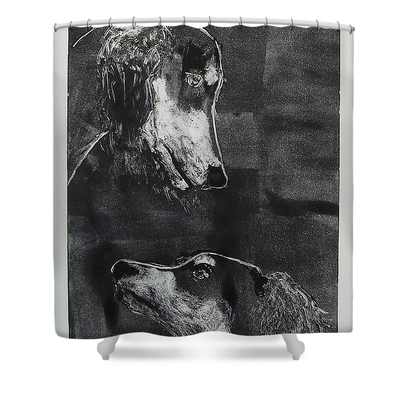 Saluki Shower Curtain featuring the mixed media With Love by Cori Solomon