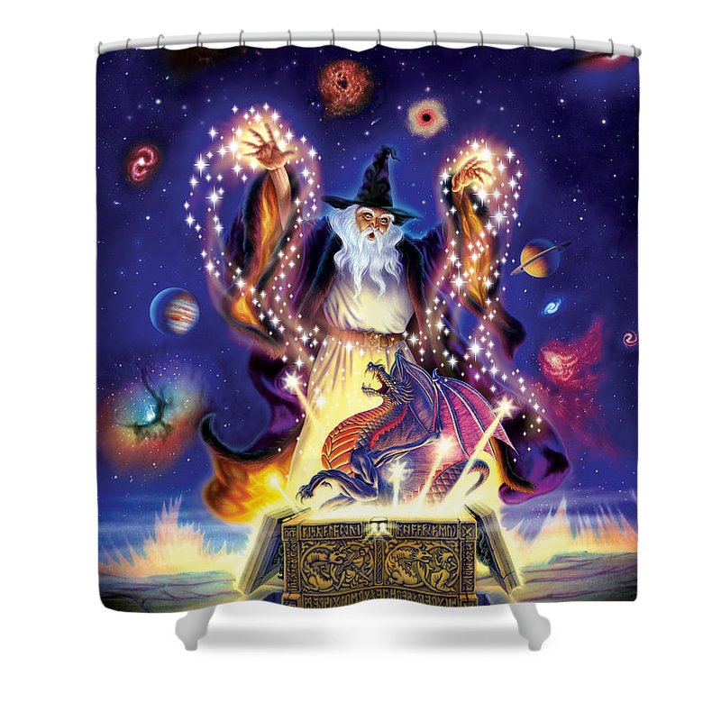 wizard dragon spell shower curtain for sale by andrew farley