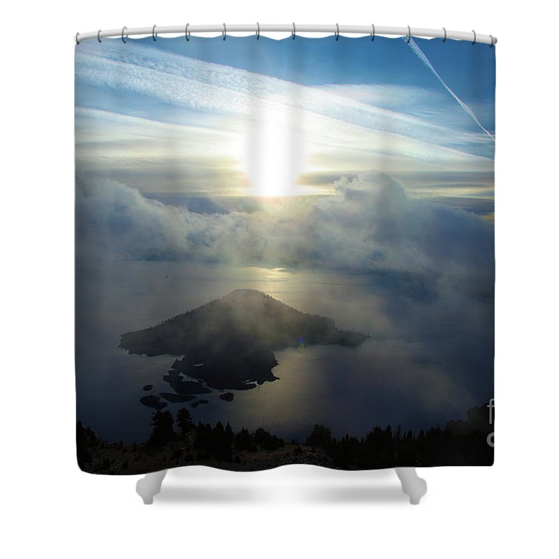 Crater Lake National Park Shower Curtain featuring the photograph Wizard Sunburst by Adam Jewell
