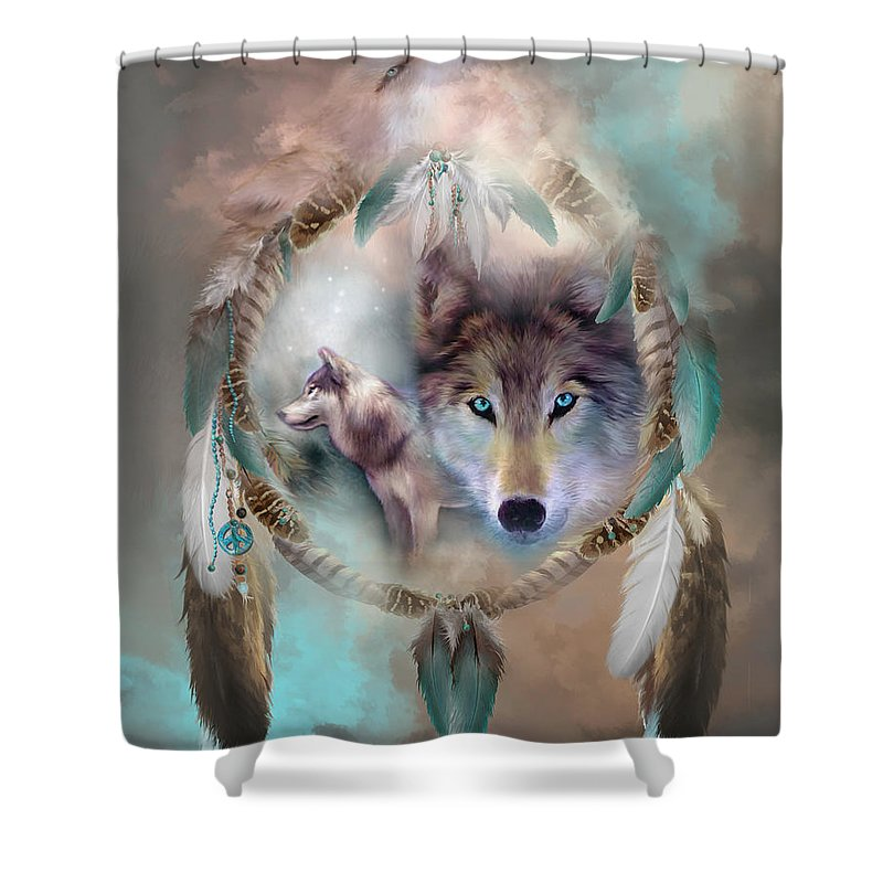 Carol Cavalaris Shower Curtain Featuring The Mixed Media Wolf   Dreams Of  Peace By Carol Cavalaris