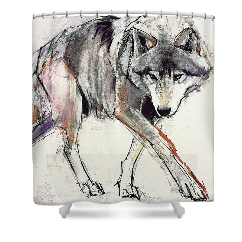 Wolf Shower Curtain featuring the painting Wolf by Mark Adlington