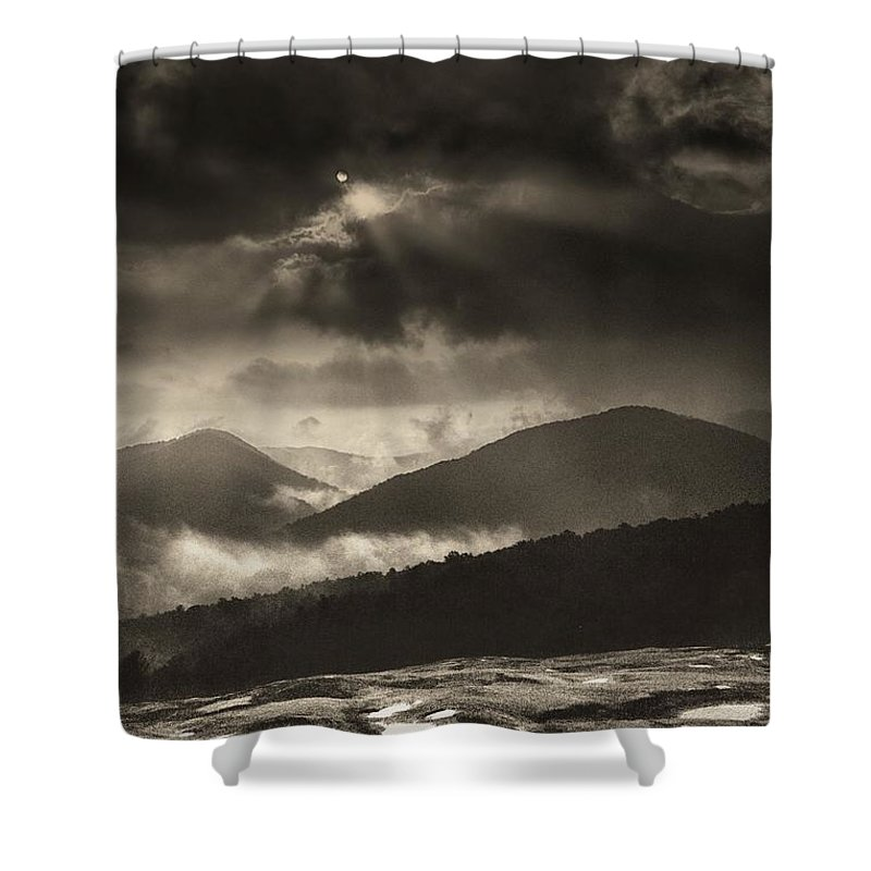 Wolf Rock Shower Curtain featuring the photograph Wolf Rock At Stone Mountain State Park by John Harmon