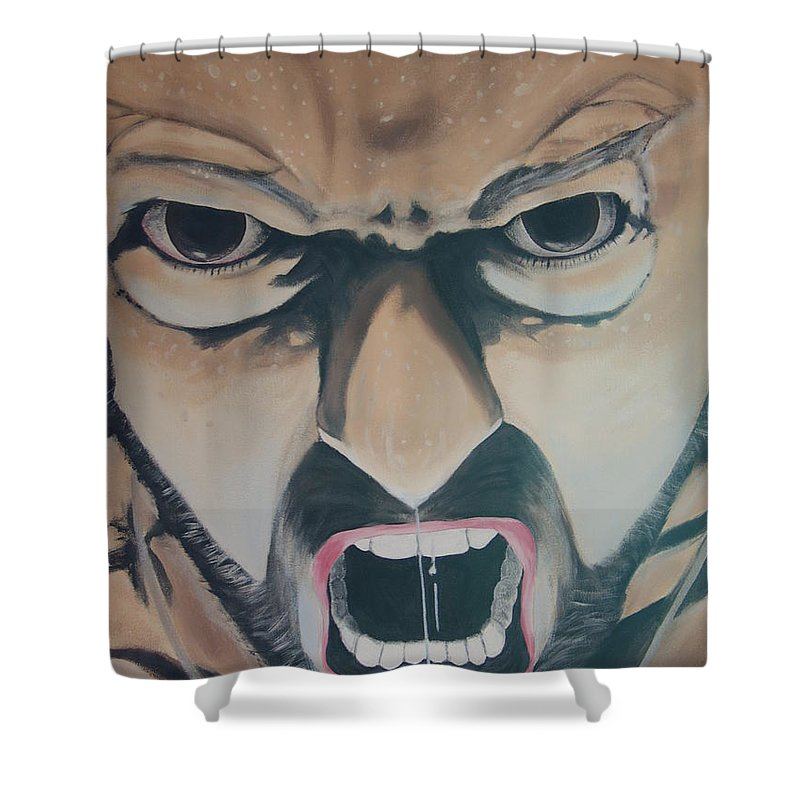 Brown Eyes Shower Curtain featuring the painting Wolverine by Dean Stephens