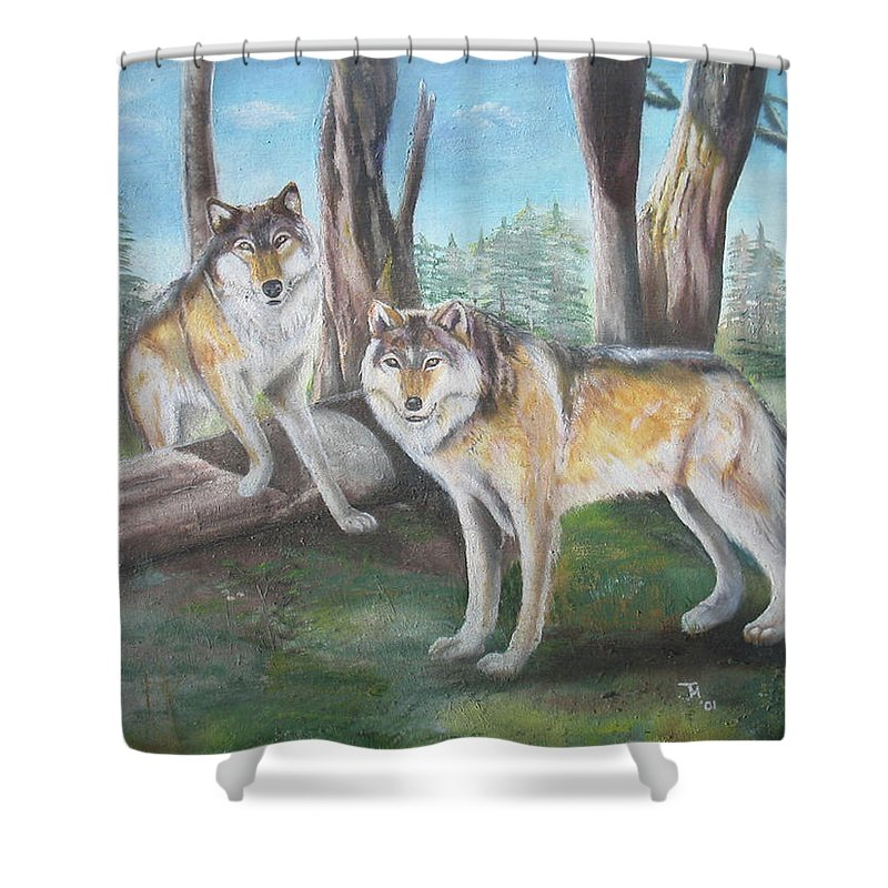 Gray Wolf Shower Curtain featuring the painting Wolves In The Forest by Thomas J Herring