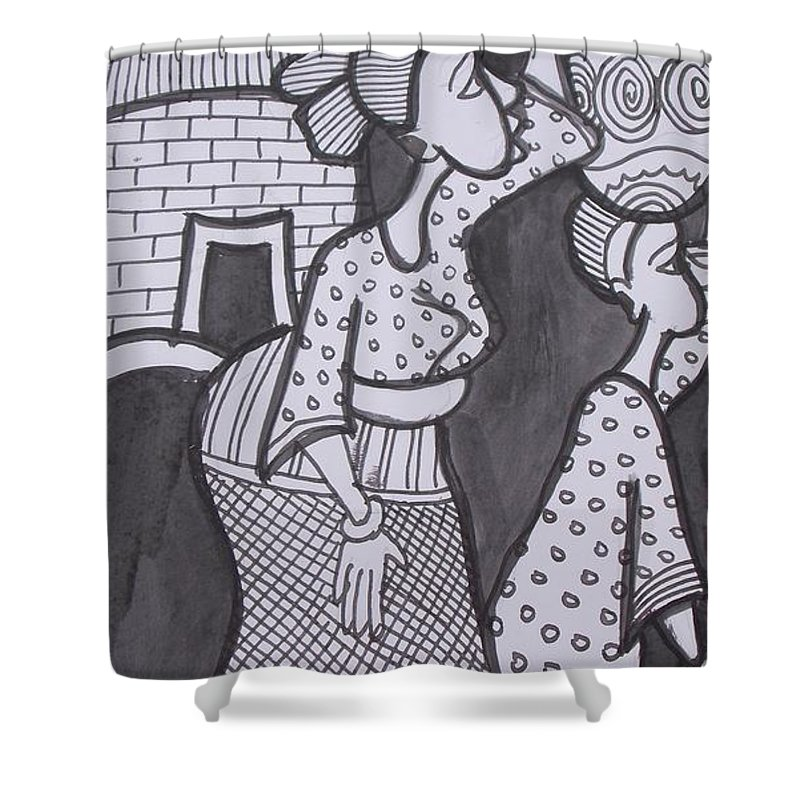 Village Scene Shower Curtain featuring the painting Woman And Her Son Are Coming From Farm by Okunade Olubayo