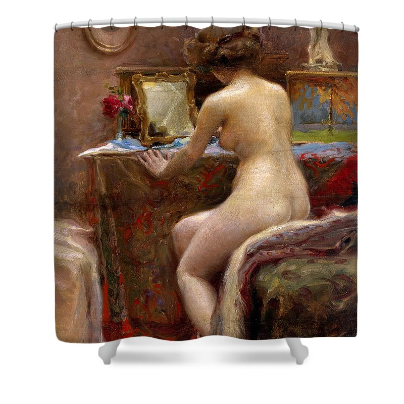 Vlaho Shower Curtain featuring the painting Woman at her Dressing Table by Vlaho Bukovac