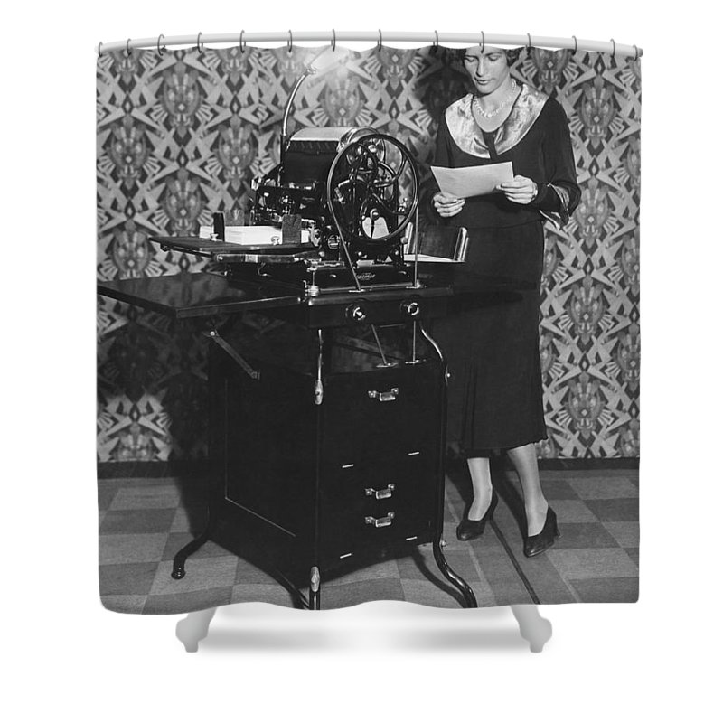 1 Person Shower Curtain featuring the photograph Woman Demonstrates Duplicator by Underwood Archives