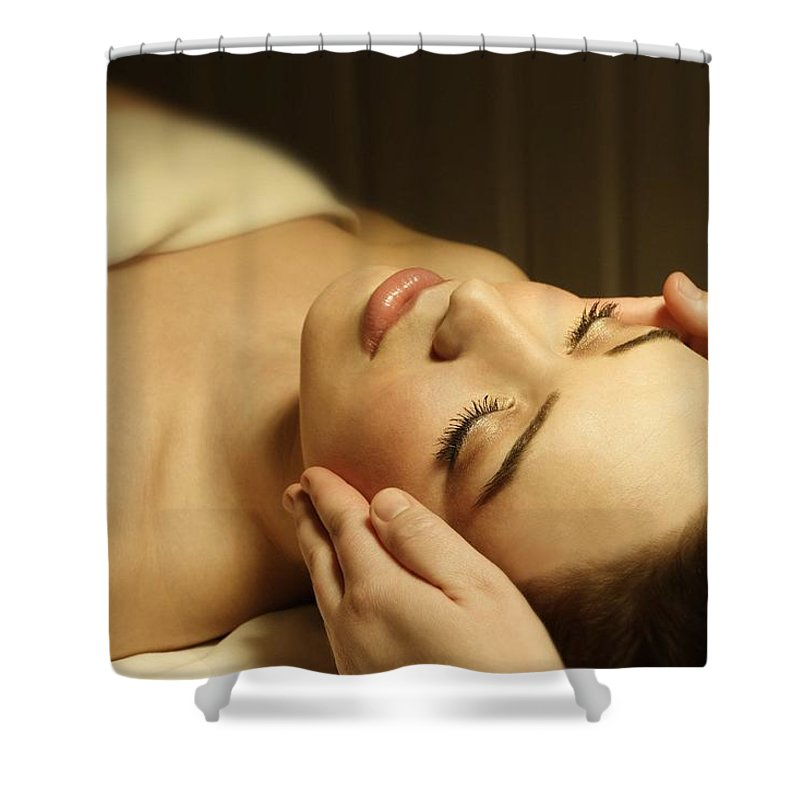 Female Shower Curtain featuring the photograph Woman Having A Facial Massage by Don Hammond