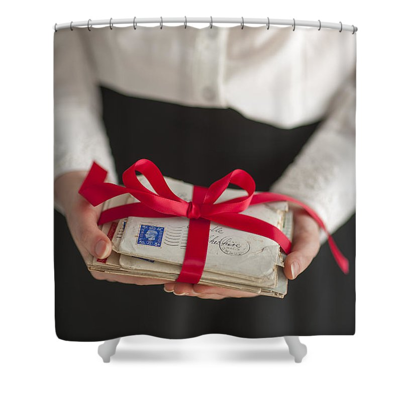 Woman Shower Curtain Featuring The Photograph Holding A Bundle Of Vintage Letters Bound With Red