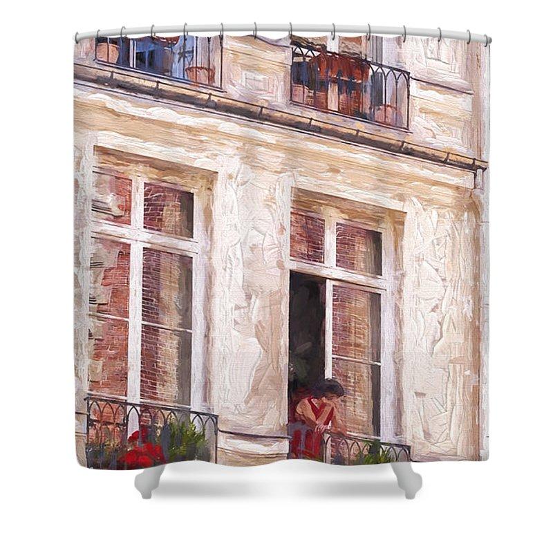 Paris Shower Curtain featuring the photograph Woman In A Paris Window by Sheila Smart Fine Art Photography