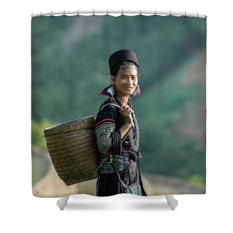 Farm Worker Shower Curtain featuring the photograph Woman Of Black Hmong Hill Tribe Next To by Martin Puddy