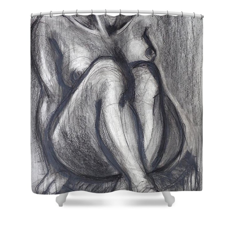 Black Shower Curtain featuring the painting Woman Sitting On Round Chair - Female Nude by Carmen Tyrrell