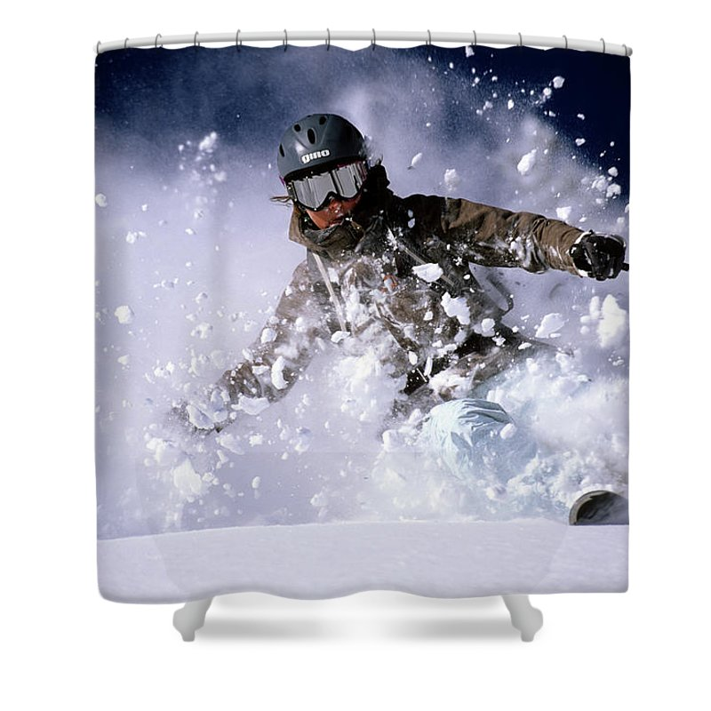 Action Shower Curtain featuring the photograph Woman Skiing Powder In The Wasatch by Scott Markewitz