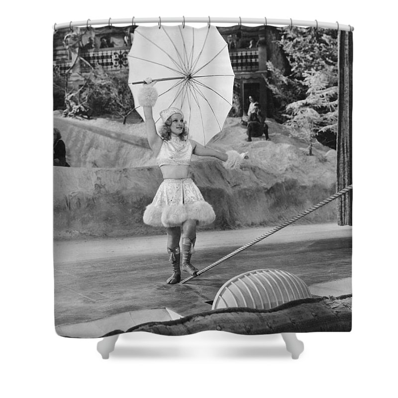 1 Person Shower Curtain featuring the photograph Woman Tightrope Walker by Underwood Archives