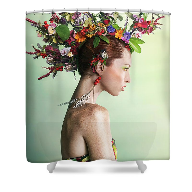 Art Shower Curtain featuring the photograph Woman Wearing A Colorful Floral Mohawk by Paper Boat Creative
