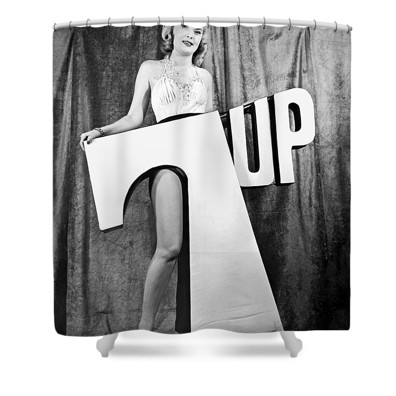 1 Person Shower Curtain featuring the photograph Woman With 7 Up Logo by Underwood Archives