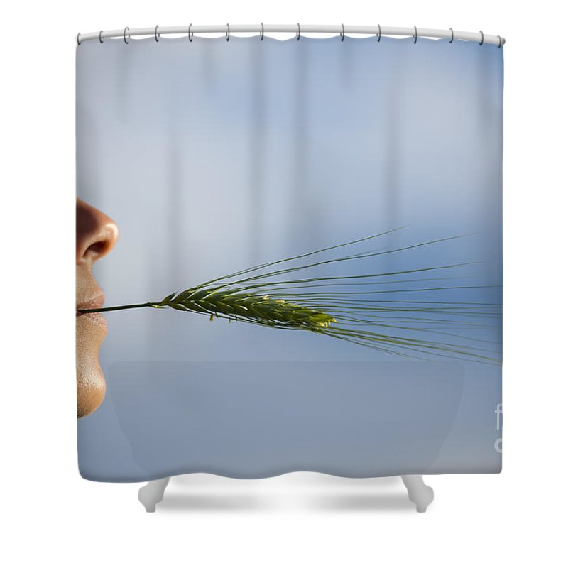 Woman Shower Curtain featuring the photograph Woman With A Wheat by Mats Silvan
