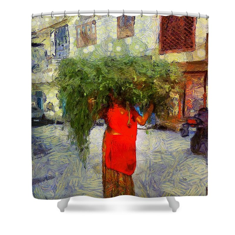 Ker Shower Curtain featuring the photograph Woman With Ker Leaves India Rajasthan Jaisalmer by Sue Jacobi