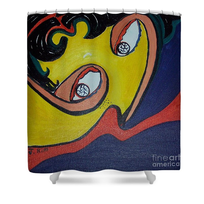 Abstract Figurative Paintings Shower Curtain featuring the painting Woman20 by Seon-Jeong Kim