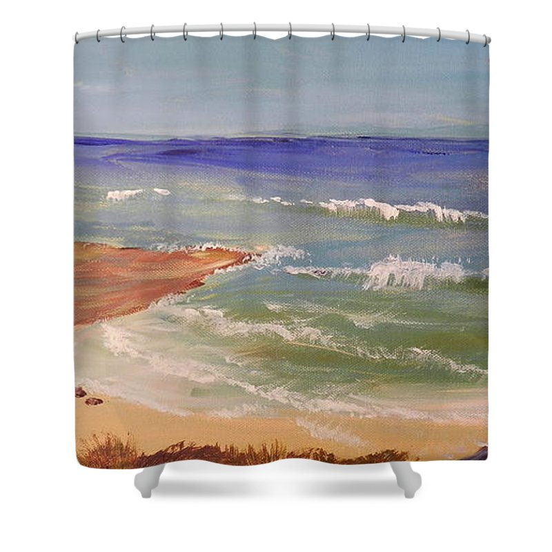 Impressionism Shower Curtain featuring the painting Wombarra Beach by Pamela Meredith