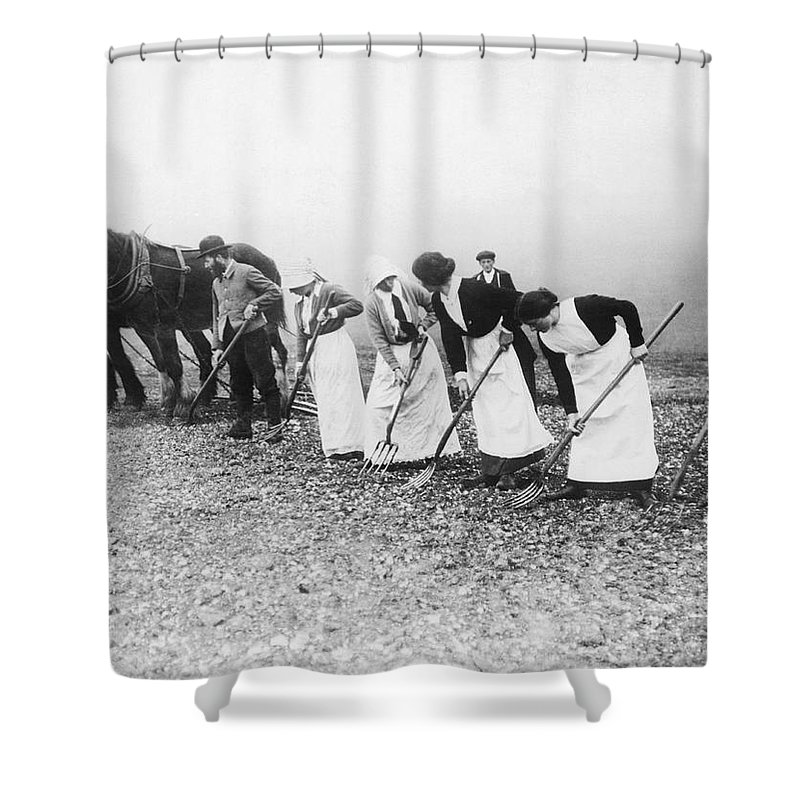 1035-842 Shower Curtain featuring the photograph Women Learning Farming by Underwood Archives