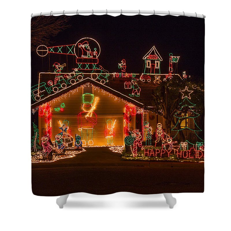 Christmas House Shower Curtain featuring the photograph Wonderful Christmas House by Garry Gay
