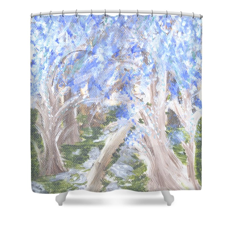 Trees Shower Curtain featuring the painting Wondering Through Trees by Suzanne Surber