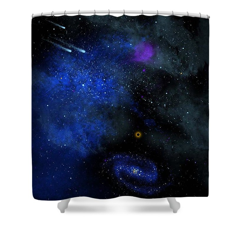 Wonders Of The Universe Mural Shower Curtain featuring the painting Wonders Of The Universe Mural by Frank Wilson