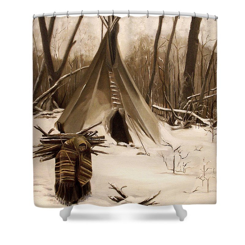 Native American Shower Curtain featuring the painting Wood Gatherer by Nancy Griswold