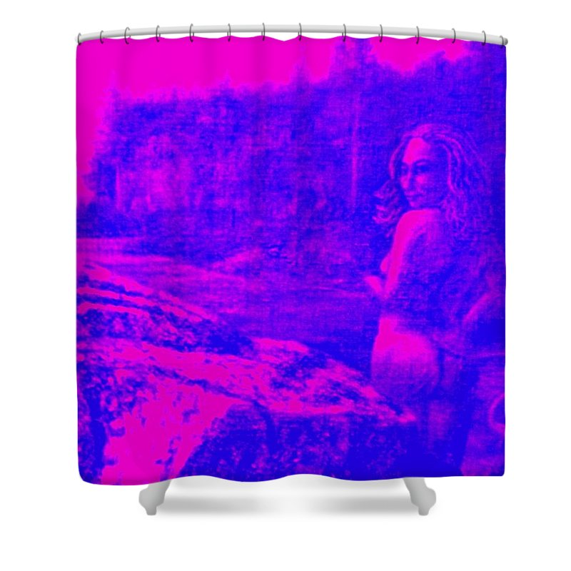 Genio Shower Curtain featuring the mixed media Wood Nymph In Pink And Blue by Genio GgXpress