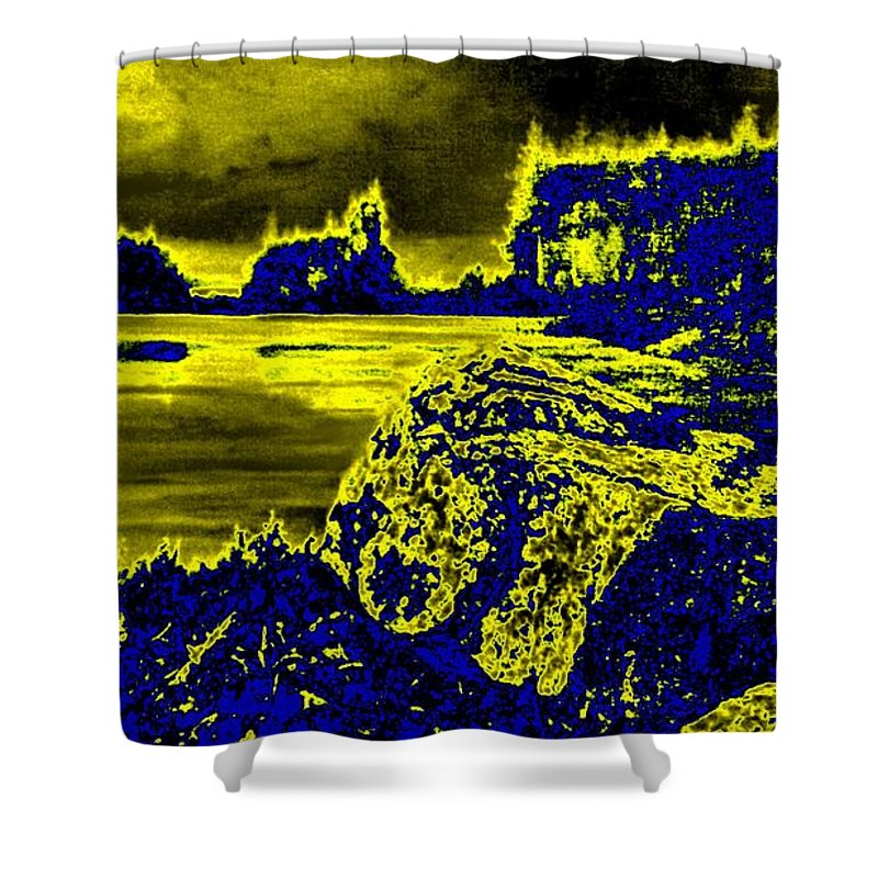 Genio Shower Curtain featuring the mixed media Wood Nymph In The Glow Of The Sunset by Genio GgXpress