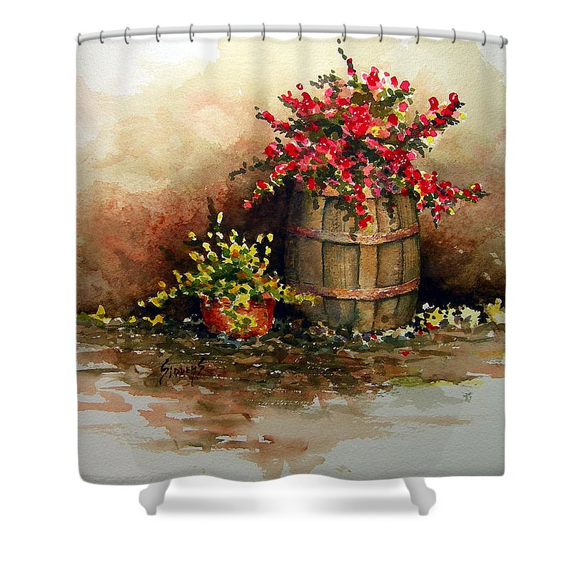 Barrel Shower Curtain featuring the painting Wooden Barrel with Flowers by Sam Sidders