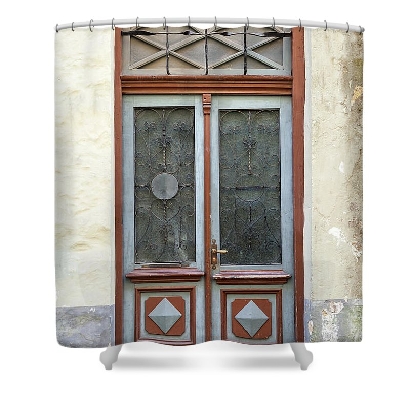 Rectangle Shower Curtain featuring the photograph Wooden Door With Glass And Decoration by Eugenesergeev
