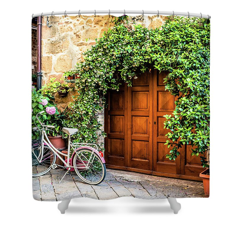 Val D'orcia Shower Curtain featuring the photograph Wooden Gate With Plants In An Ancient by Giorgiomagini