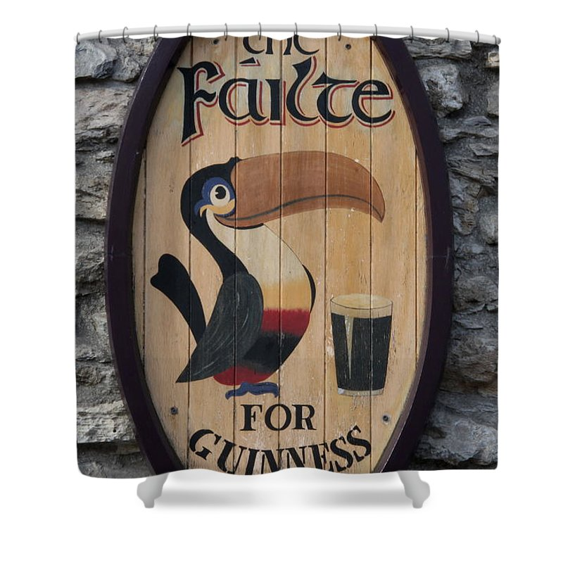 Guinness Sign Shower Curtain featuring the photograph Wooden Guinness Sign by Christiane Schulze Art And Photography